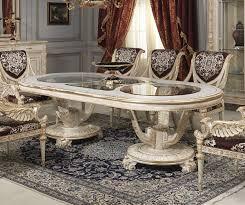 casa padrino luxus barock esstisch weiß gold verschiedene größen prunkvoller ovaler massivholz esszimmertisch mit glasplatten hotel restaurant