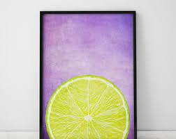 Lemon Print Purple Kitchen Decor Art Wall