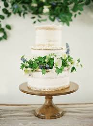 Semi Naked Wedding Cake With Fresh Flowers And Greenery