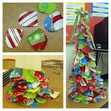 Christmas Trees Made From Rolled Up Poster Paper With Wrapping Paper