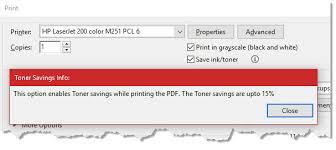 Adobe Reader Save Ink Toner Option