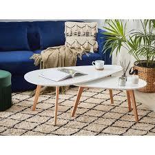 beliani couchtisch set weiß hellbraun zweiteilig mdf platte birkenholz großer couchtisch kleiner couchtisch wohnzimmer