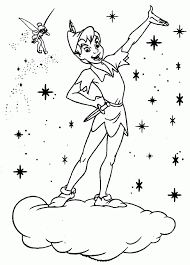 Peter Pan Can Stand On Cloud Because Of Tinkerbell Coloring Page