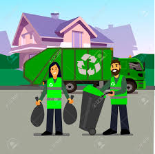 Garbage Collection. Garbage Truck And Garbage Men Isolated On ...