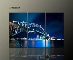 traumhaft eyecatcher für ihr wohnzimmer 3 teiliges wandbild auf echter leinwand blue bridge 3x40x80cm brücke bilder fertig gerahmt mit keilrahmen