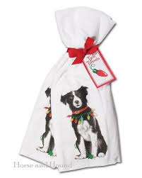 Holiday Border Collie Kitchen Towels Pair Dog Christmas