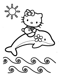 Dolphin With Hello Kitty Coloring Page