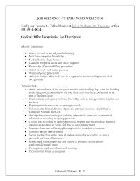 Receptionist Job Resume Description For