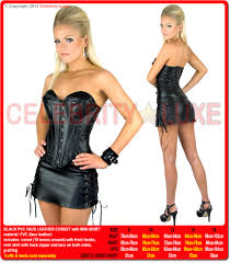 black pvc corset bustier costume faux leather with pencil skirt