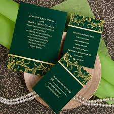 Afforable Green Damask Wedding Invitations With Free Response Cards
