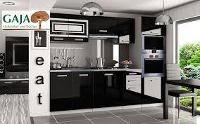 küche 240cm schwarz hochglanz mit hochschrank für ofen