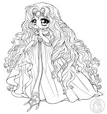 Free Chibi Colouring Pages Princess Emeraude Rayearth Lineart By YamPuff