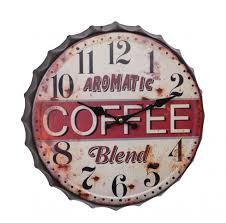 wanduhr küche aromatic coffee flaschenverschluss wanddeko uhr vintage 33 2 cm ellas wohnwelt de
