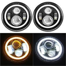 7 led headlights bulb with white halo eye ring