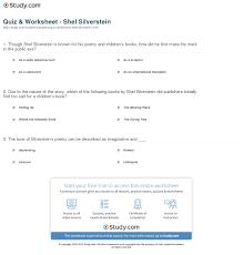 quiz worksheet shel silverstein study com