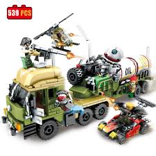 Military Oil Tanker Helicopter Car Building Blocks Fit Lego Bricks ...