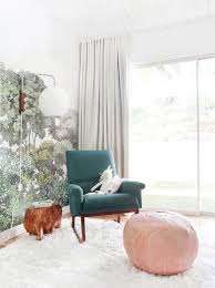 100 Rocking Chair With Pouf A Baby Girls Blush And Green Nursery Get The Look Bowens Room