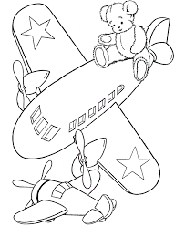Airplane Coloring Page With Teddy Bear