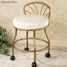 Vanity Chair With Back And Wheels by Flare Back Metallic Finish Vanity Chair With Casters