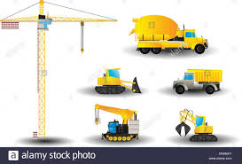 Cartoon Construction Vehicle Set Stock Photos & Cartoon Construction ...