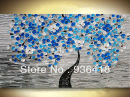 Large Custom Modern Blue Tree Acrylic Impasto Palette Knife Technique Painting White And Flowers Home