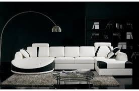 canape blanc noir canapé d angle en cuir italien 7 8 places naples blanc et noir