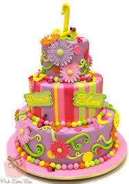 Twins Ladybug Spring Themed Birthday Cake
