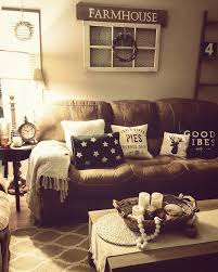 Living Room Rustic Farmhouse Brown Couch Cozy Home Paint Ideas