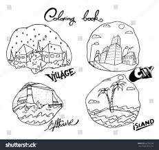 Coloring Book Page With Village City Lighthouse And Island
