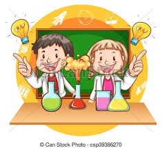 Boy and girl doing science experiment illustration vectors