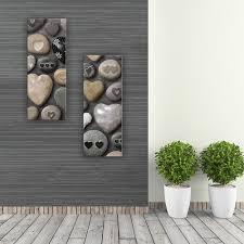 glasbild 30x80cm wohnzimmer herz stein deko