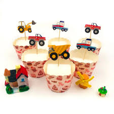 100 Truck Birthday Party Supplies 24pcsbag Car Excavator Happy Cake Topper For Kids