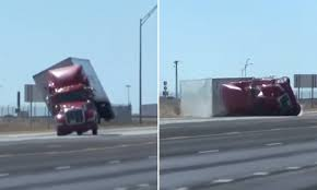 100 Simi Truck Semi Truck Is Sent Crashing Onto Its Side On A Texas Highway As