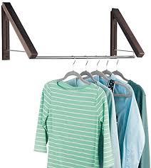 mdesign ausziehbare wand kleiderstange für waschküche oder schlafzimmer wandgarderobe aus metall für kleidung aus der reinigung wandmontierter