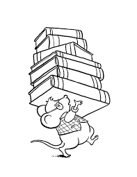 Library Mouse Brought Lot Of Book At Coloring Pages