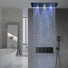 bad zubehör multi farbe led leuchten thermostat dusche system matte schwarz oberfläche multi funktion dusche set