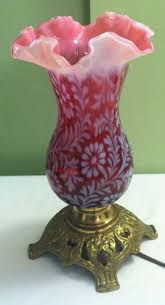 Antique Oil Lamps Ebay by Fenton Art Glass Lg Wright Fern U0026 Daisy Cranberry Opalescent Lamp