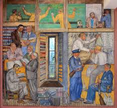 banking and law mural by george harris 1934 located at coit