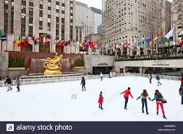 Rockefeller Plaza Christmas Tree Address by American Flags Rockefeller Center Manhattan Stock Photos