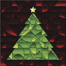 Stained Glass Xmas Tree Vector Art Illustration