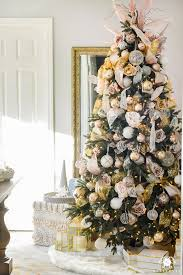 Blush And Gold Christmas Tree In Office 1