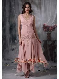 Unique Baby Pink Mother Of The Bride Dress Column V Neck Asymmetrical Appliques Chiffon
