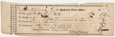 Hitchcock invoice for the Amherst Post fice 1838 April 1
