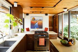 Mid Century Modern Kitchen Decoration With Wooden Ceiling Plus Track Lighting