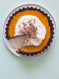 Keebler Double Layer Pumpkin Cheesecake Recipe by Pumpkin Pie With A Chocolate Crust Spoon Fork Bacon