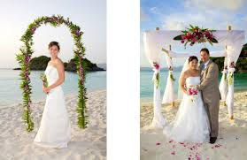 Beach Wedding With Canopy Arch Flowers And For