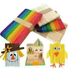 50pcs Pack Wooden Colorful Popsicle Stick Kids Hand Craft Art Ice Cream Sticks Children DIY