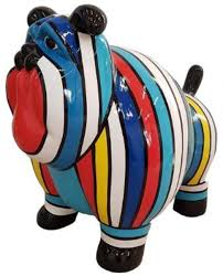 casa padrino designer dekofigur alter hund mehrfarbig gestreift 75 x h 63 cm wetterbeständige deko skulptur wohnzimmer deko garten deko