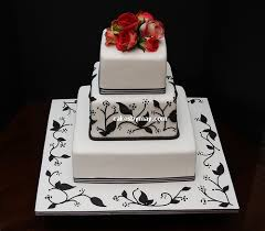 Black White And Red Wedding Cake Design