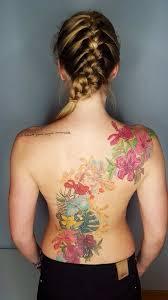 Women Flower Back Tattoo Hawaii Surfing